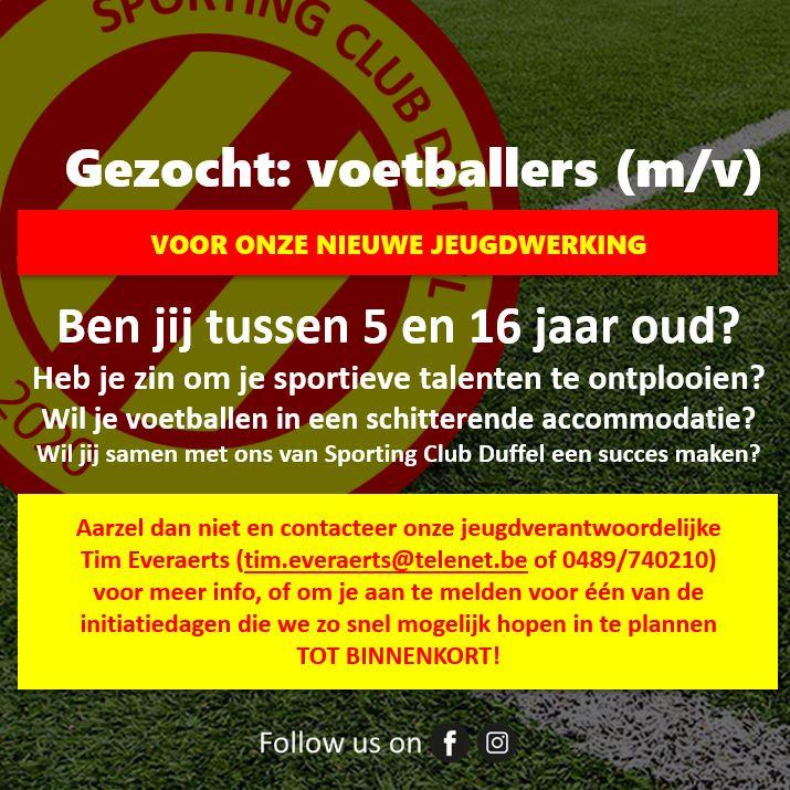 SC Duffel jeugd zoekt voetballers!